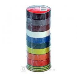 Набор разноцветных ПВХ изолент 3M Temflex 1300, блок 10 шт.