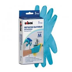 Перчатки нитриловые UNIBOB бытовые, Голубые, 5 пар